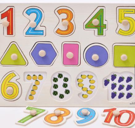 Bảng ghép số và hình học cho bé