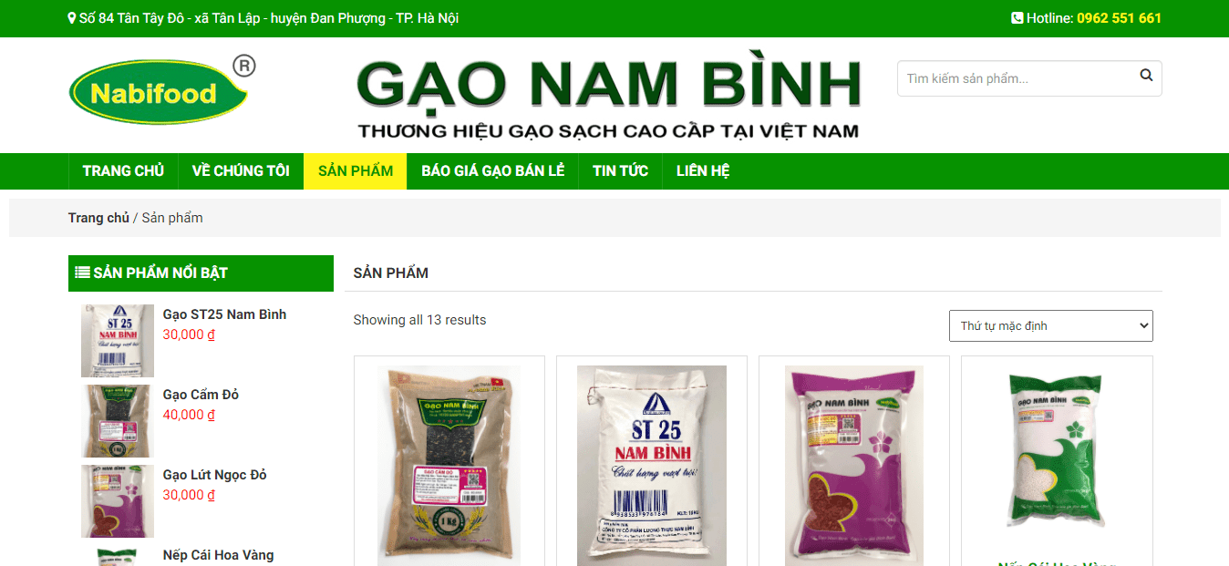 đại lý gạo Hà Nội - Gạo Nam Bình